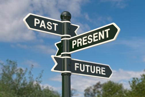 Directional signs saying past, present and future
